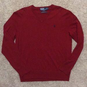 New Men's V Neck Polo Sweater -Crimson